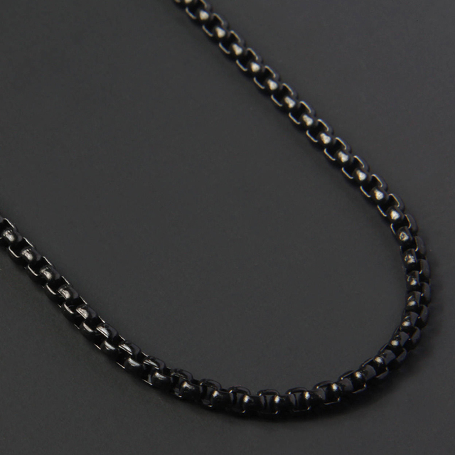Simple Fashion Box Chains Necklace Men Titanium Steel Chain Necklace For Men Jewelry Gift 5
