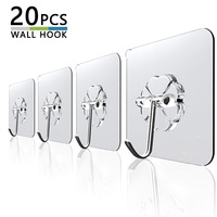 Colgador de pared de puerta autoadhesivo, transparente, fuerte, 20 piezas, 6x6cm, ventosa de carga pesada para cocina y baño