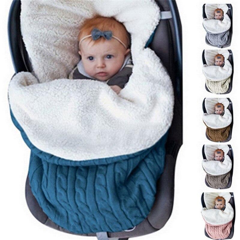 Knitted Sleep Sack Newborn Swaddle Knit Wool Slaapzak Baby Sleeping Bag Baby Thickening Plus Velvet Knit Warm Wool Stroller