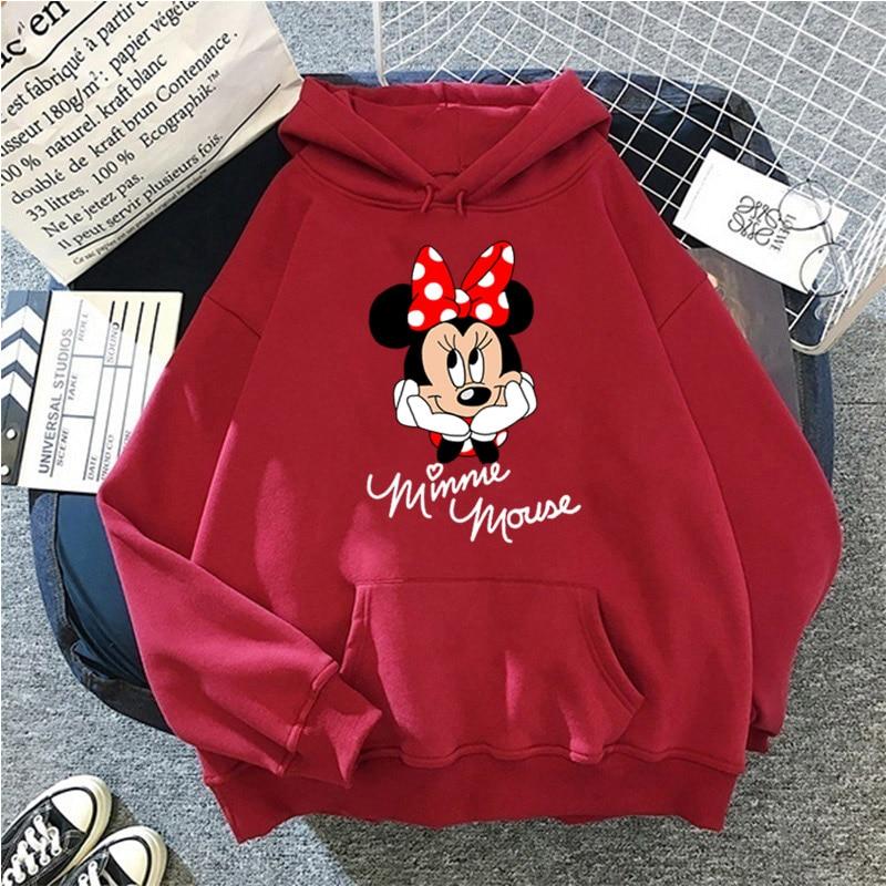Disney Women Hoodies Minnie Mickey Mouse Hoodies Cartoon Tops Long Sleeve Pockets Sweatshirts Fashion Hooded Women 14