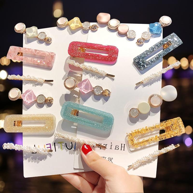 3PCS/Set NewFashion Pearls Acetate Geometric Hair Clips For Women Girls Headband Sweet Hairpins Barrettes Hair Accessories Set