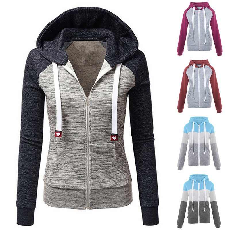 Puimentiua Sweatshirts Frauen Hoodie Langarm Hoody dame Zipper Taschen Patchwork Frauen Hoodie Sweatshirt Sport Jacke