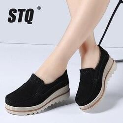 Stq 2019 outono mulher apartamentos sapatos plataforma tênis sapatos de camurça couro sapatos casuais deslizamento em saltos rasos mocassins 3088