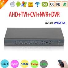 5MP CCTV מצלמה 5M N אודיו Hi3531D H.265 + 32CH 32 ערוץ 6 ב 1 קואקסיאלי היברידי NVR CVI TVI AHD DVR מעקב וידאו מקליט