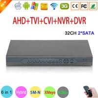 5mp ahd câmera 5m-n áudio hi3531d h.265 + 32ch 32 canais 6 em 1 coaxial híbrido nvr cvi tvi ahd dvr gravador de vídeo de vigilância