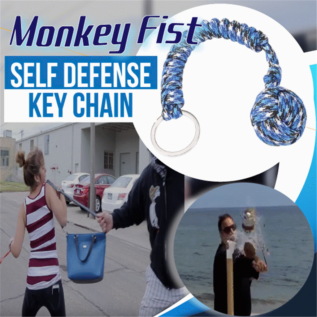 2019 New Fashion Keychain Llaveros Monkey Fist Steel Ball Survival