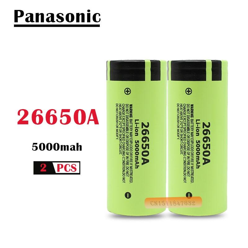 2 шт./лот 100% Оригинальный Новый аккумулятор для Panasonic 26650A 3,7 в 5000 мАч литий-ионные аккумуляторные батареи большой емкости 26650