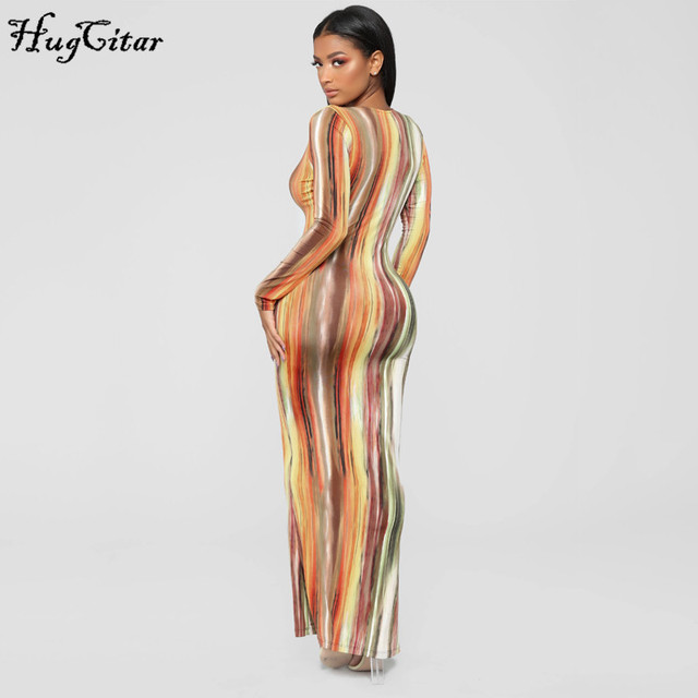 Hugcitar 2020 long sleeve colorful print V-neck bodycon long dress spring women new fashion streetwear party elegant outfits 5