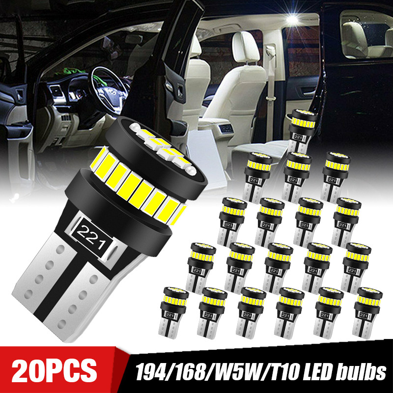 Luces interiores para automóvil T10 W5W, bombillas Led de techo, luz de estacionamiento, indicador lateral, luces de matrícula Canbus 20/50 194, 10/168 Uds.