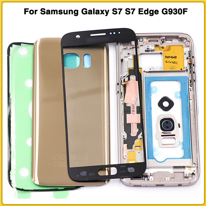New <font><b>S7</b></font> Full Housing For <font><b>Samsung</b></font> <font><b>Galaxy</b></font> <font><b>S7</b></font> Edge G930F G935F Middle Frame Battery Back Cover With Touch Glass <font><b>Lens</b></font> Sticker Glue image