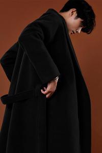 Image 5 - Abrigo de Cachemira de estilo coreano informal para hombre, chaqueta holgada de lana, abrigo de una botonadura