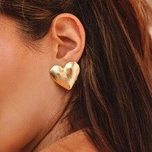 Новая мода женские шикарные металлические серьги серебро розовое золото сердце серьги-гвоздики для женщин