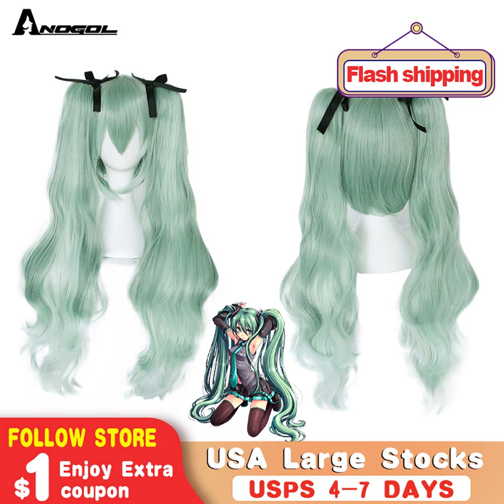 Anogol Brand New Vocaloid Hatsune Miku Double Green Ponytails Synthetic Cosplay Wig For Halloween Party Role Play +Black Ribbon