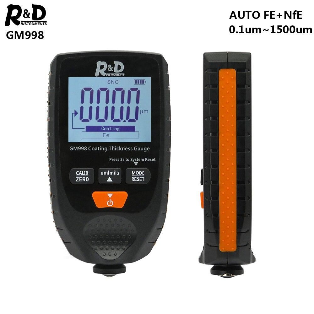 Medidor 0-1500um fe & nfe do verificador da espessura do revestimento do metal da pintura do carro do calibre da espessura do revestimento do carro de r & d gm998