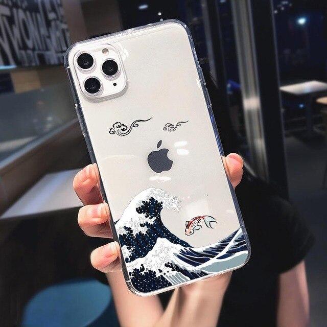 La Grande Vague de Kanagawa Pour iphone 11 Pro Max 55 SE 6 6S 7 8 Plus X XS MAX XR SE 2020 ramen japonais Housse Coque