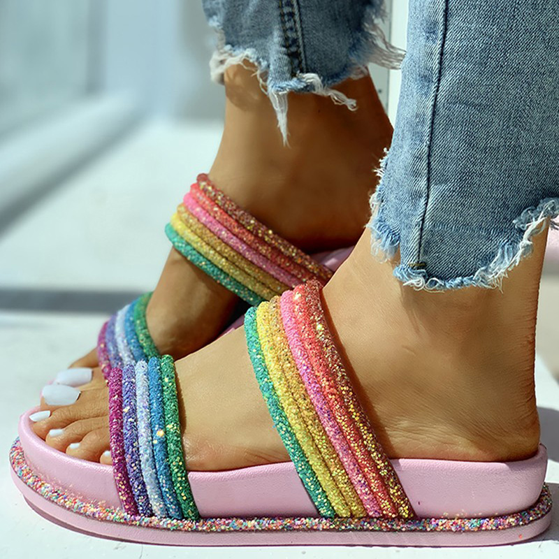 2020 rainbow Slippers Summer Woman Shoes Flat Slides Casual Bright Rainbow Slippers Indoor Home Shoes Outdoor Beach Shoes Slides