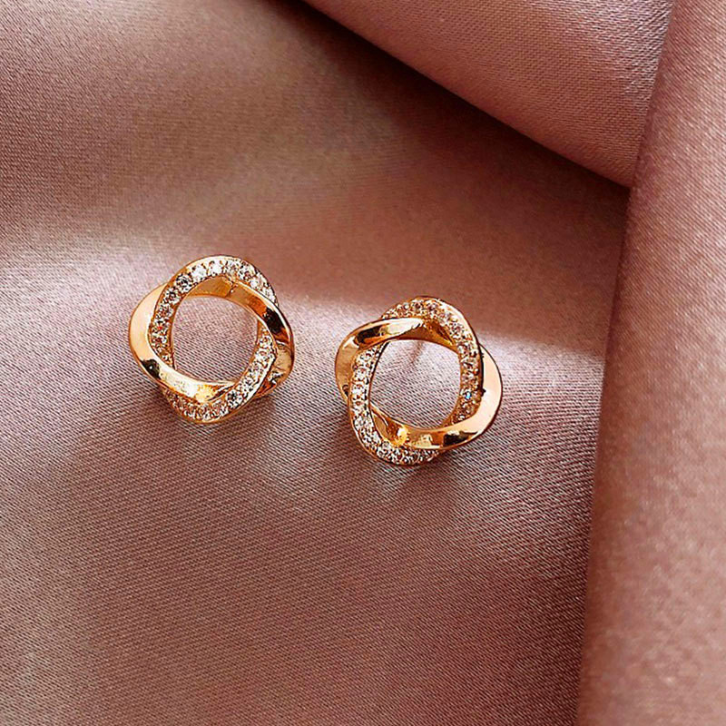 Cute Female White Crystal Small Earrings Charm Gold Color Wedding Earrings Luxury Hollow Flower Stud Earrings For Women