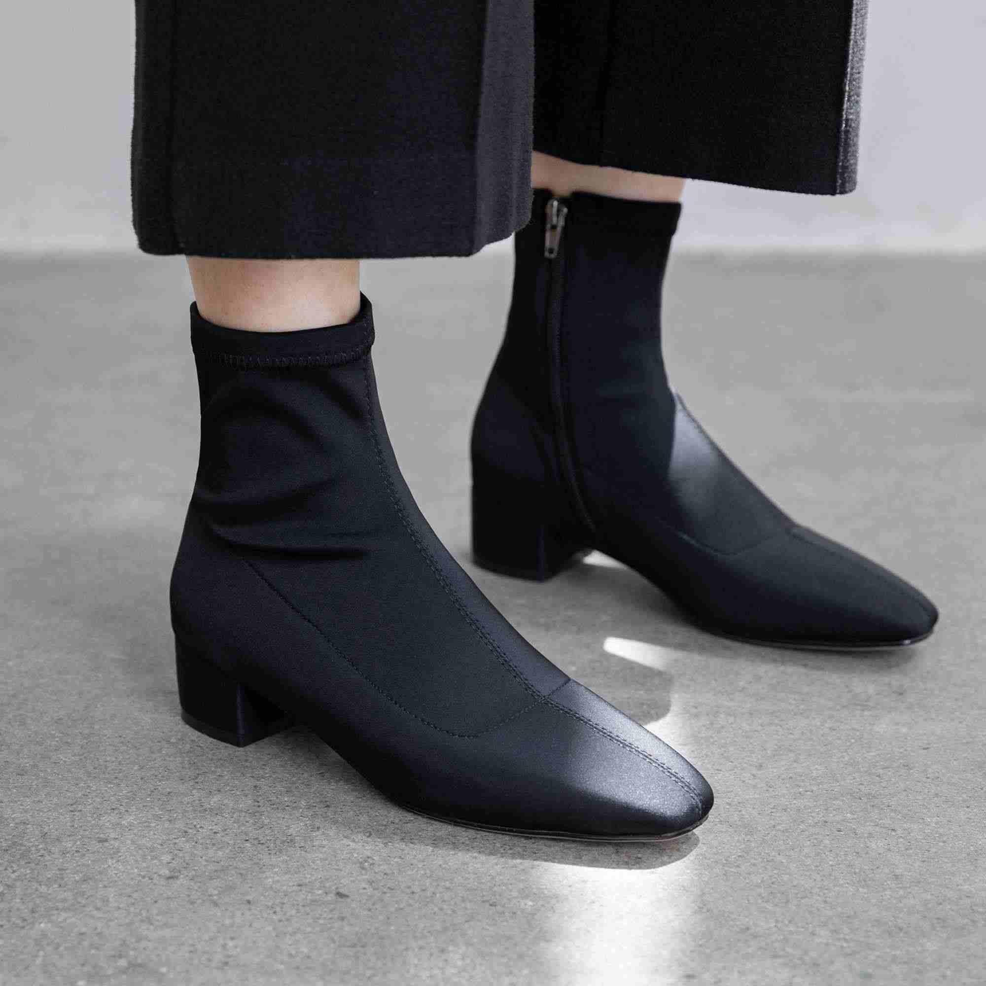 Krazing Pot Kore moda siyah renk streç akın çizmeler kare ayak med topuklar kış sıcak kadın streetwear yarım çizmeler L47