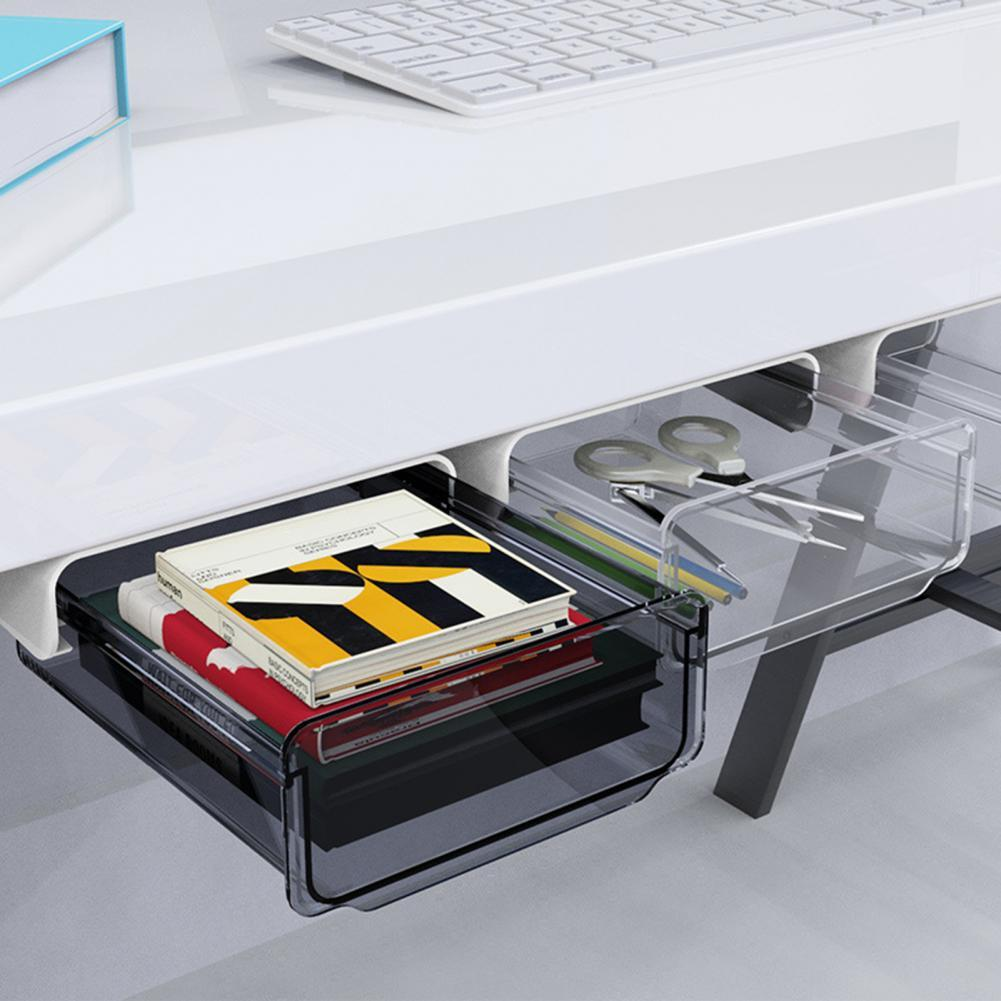 1PC Drawer Self-adhesive Plastic Under Desk Table Storage Drawer Portable Hidden Office Home Organizer Box Case for Home Office