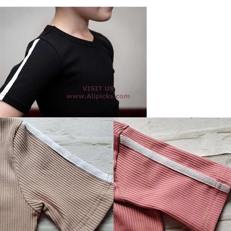 HITOMAGIC 2020 חדש הגעה ילדי בגדי מצולעים סטי בני תינוק בנות בגדי מכירה לוהטת קיץ מכנסיים ילדי תלבושת שחור פיג 'מה