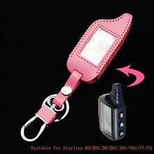 หนังสีชมพูสำหรับกรณีStarline B9 / B91 / B6 / B61 / A91 / A61 / V7 c9 Twage Two Way Car Alarm Systemพวงกุญแจ