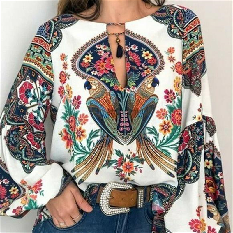 Plus Size Womens Tops and Blouses Vintage Tunic Ladies Tops Autumn Boho Floral Print Long Sleeve Shirt Tee Blusas Clothing