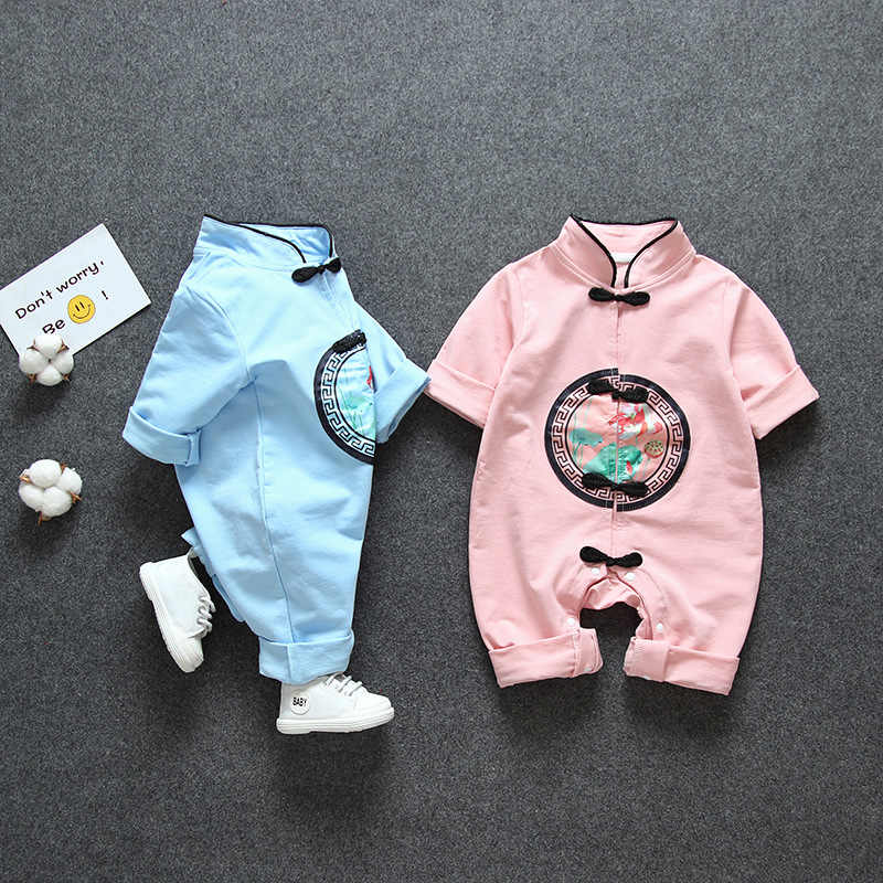 Newborn Baby Clothes Chinese Style Embroidered Baby Romper Toddler Baby Fashion Casual Soft Short Sleeved Boy Girl Baby Jumpsuit