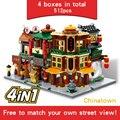 Junge Mädchen Mini Street view Montiert Ziegel Spielzeug Serie Modell Kinder Pädagogisches Spielzeug Bausteine Geschenk Kompatibel Meisten Marke