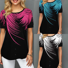 Women Printed Floral Button Slim Tunic T-shirt O Neck Short Sleeve Loose Female T-shirts 2020 Summer Ladies Fashion Tops Clothes