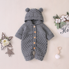 Baby Rompers Clothes Winter Warm Funny Cartoon Knitted Newbo
