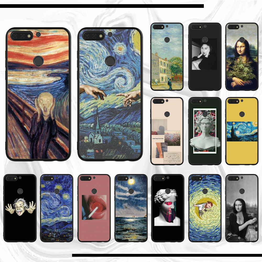 3D Relief Van Gogh TPU Black For Honor 9 Lite Phone Cover Funda Case Hull Shell For Honor Y6 2018 8 X 9 Lite 10 View