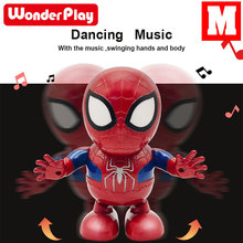 Dance hero Can For Spiderman Action Figure Toy Led Flashlight With Light Sound Music Robot Hero Electronic