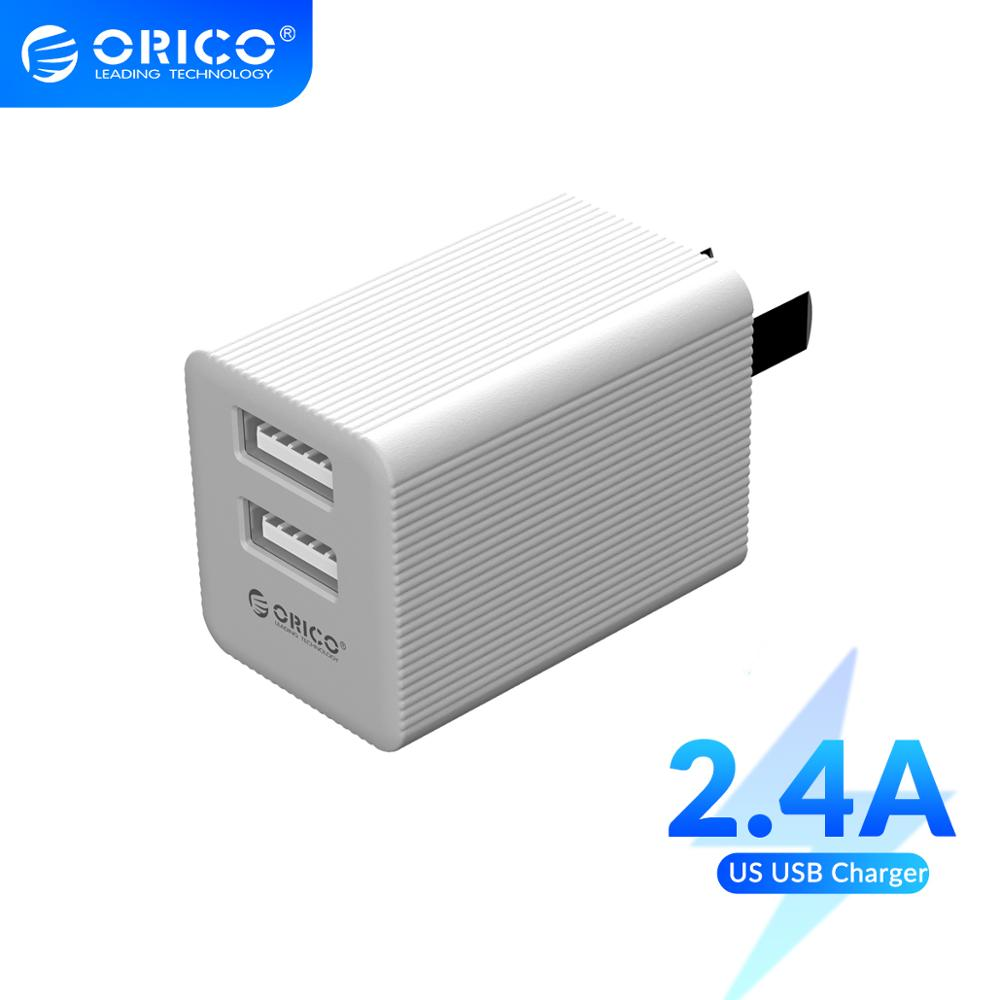 ORICO US Plug USB Charger Travel Mini Size Dual Port USB Adapter for iPhone Huawei Xiaomi Wall Mobile Charger Fast Charger