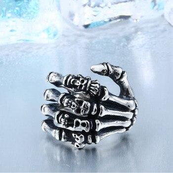Beier Finger skull bones punk ring   1