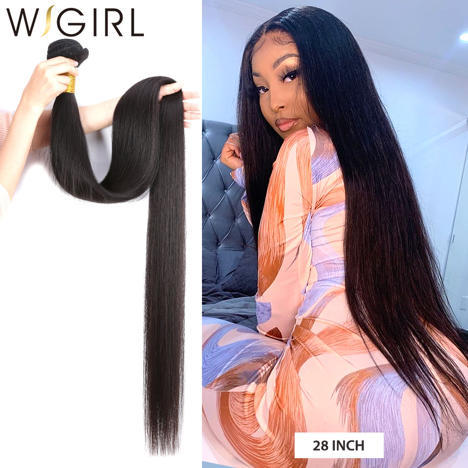 Wigirl Straight 28 30 32 40 Inch     Bundles Natural Color 100%   2