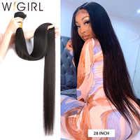 Wigirl-extensiones de cabello humano brasileño Remy, extensión de cabello humano liso de Color Natural, 28, 30, 32 y 40 pulgadas, 100%