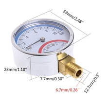 10 Bar Temperature Pressure Gauge Meter G1/4 Thread 2 in1 Thermometer Monitor G8TB