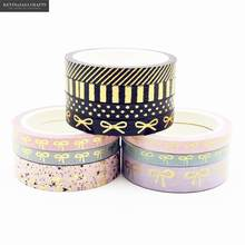 3-4Pcs/Set Bow Foil Washi Tape Quality Stationery Diy Scrapbooking Photo Album School Tools Kawaii Scrapbook Paper Stickers Gift(China)