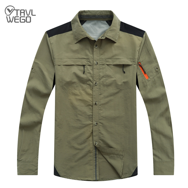TRVLWEGO Summer Quick Dry Long Sleeve Mesh Breathable Shirt Male Outdoor Climbing Fishing Hiking Cycling Thin Sunscreen Fast Dry