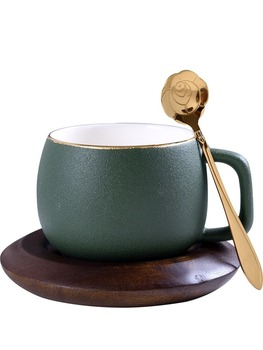Creative European Ceramic Cup Coffee Cup Saucer Tea Coffee Cup Set Tea Saucer Wooden Saucer Mini Cup Tea Small Cups Sets HH50BD фото