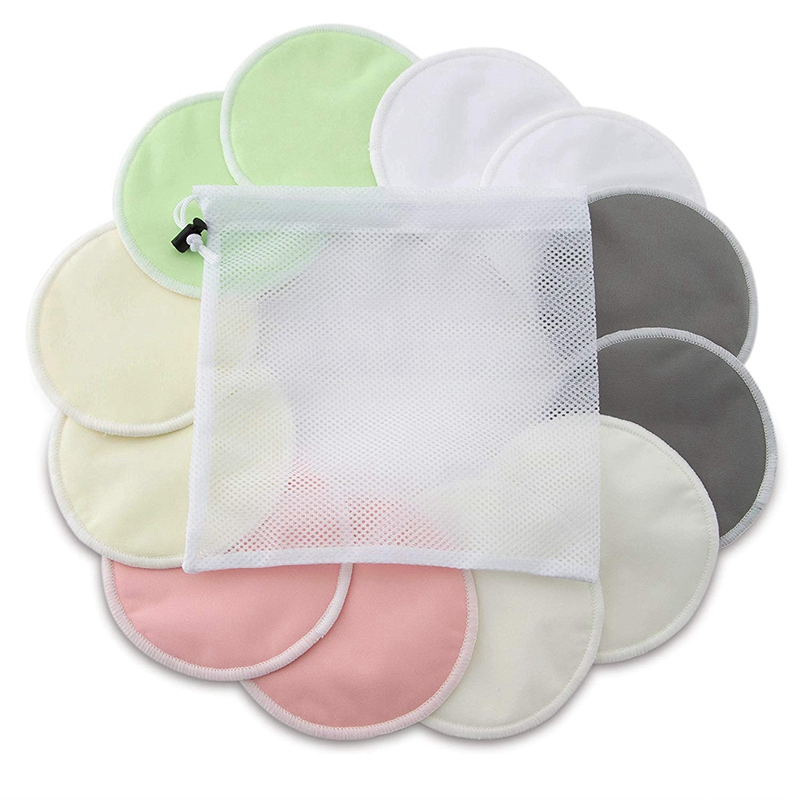 Organic Bamboo Nursing Pads (12 Pack) With Bonus Laundry Bag By - Washable Breastfeeding Pad Are Super Soft, Reusable And Hypoal
