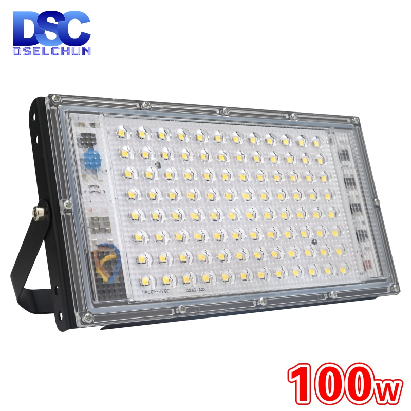 DSELCHUN 100W Led Flood Light AC 220V 230V 240V Outdoor Floodlight Spotlight IP65 Waterproof LED Street Lamp Landscape Lighting