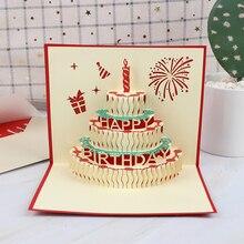 Счастливая открытка на день рождения поздравительные открытки пустая бумага 3D ручной работы всплывающие лазерные вырезы винтажные приглашения на заказ с конвертом