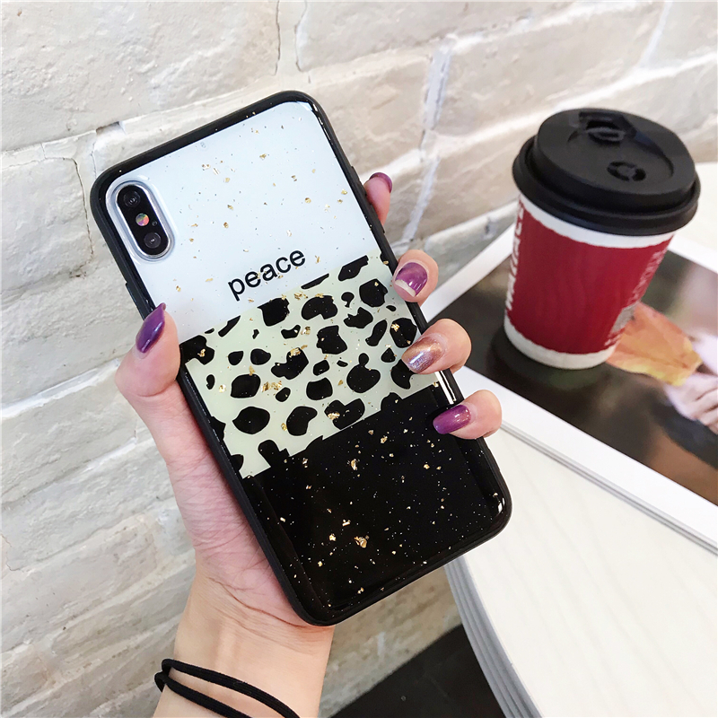 Image 3 - Leopard Luxury Gold Foil Bling Phone Case Cover For Iphone XS Max XR X 8 7 6 6S Plus Luxury Soft Back Cases Fashion Capa Shell