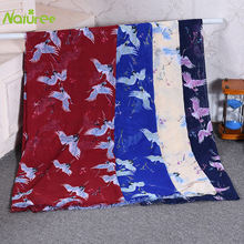 1 5m*1m Polyester Chiffon Fabric Sewing Fabric Floral Cloth for Scarf Beach Towel Crane Pattern Printed Dress Hanfu Fabric cheap Knitted Eco-Friendly None Warp Spandex Fabric 100 Polyester Other