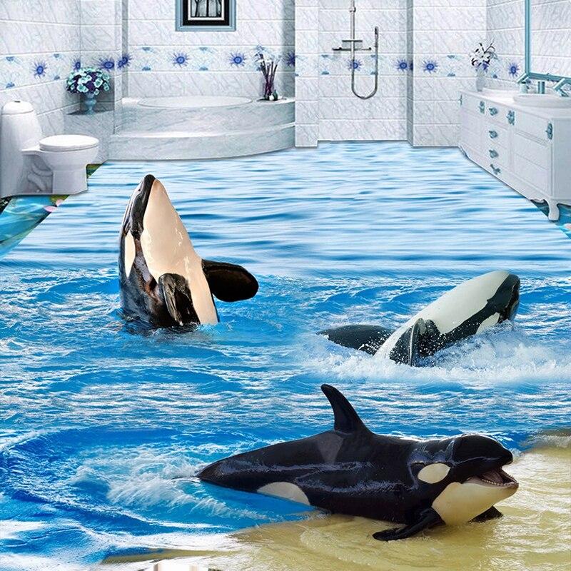 Custom 3D Flooring Mural Wallpaper Dolphin Ocean Waves Toilet Bathroom Bedroom Floor Sticker Waterproof Self-adhesive Painting