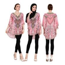 Islamic Clothing Abayas Turkey Dubai-Tops Muslim Blouse Half-Sleeve Women for Malaysia