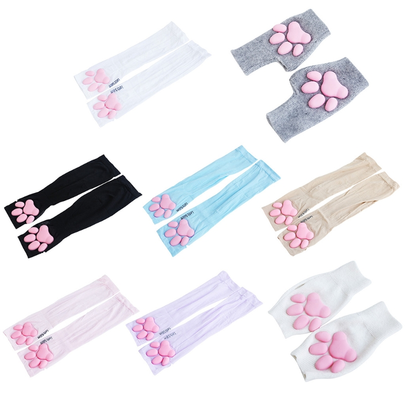 Stretchy 3D Cat Claw Pad Arm Sleeves UV Protection Cartoon Sleeve Outdoors Sport Sleeve Tattoo Cover Up Warm Soft Gloves