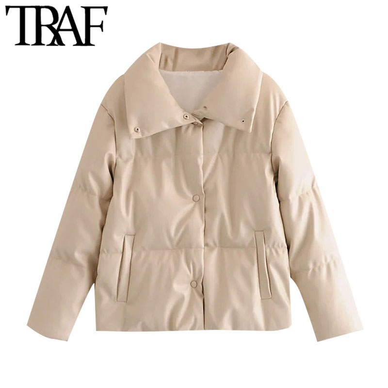 TRAF Women Fashion Thick Warm Parkas Faux Leather Padded Jacket Coat Vintage Long Sleeve Pockets Female Outerwear Chic Tops