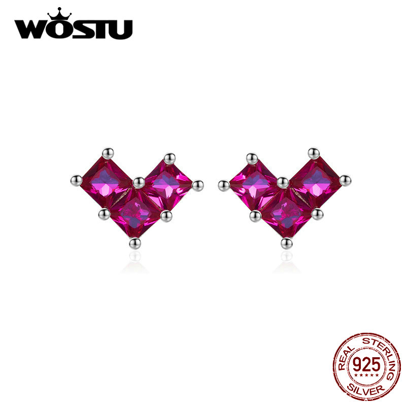 WOSTU 925 Sterling Silver Pretty Heart Stud Earrings Silver 925 Jewelry For Women Zircon Wedding Small Earrings Jewelry CTE248